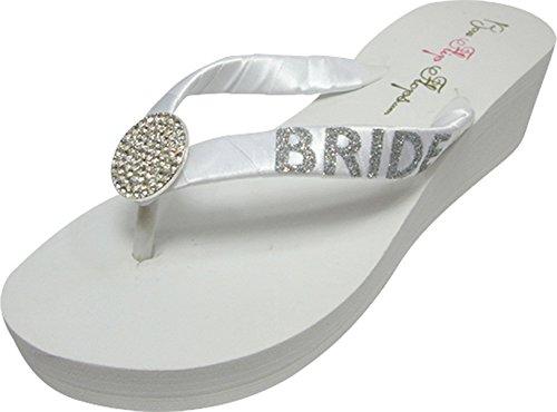 White 2 Silver Round Wedge Heel Bride inch Jewel Flops Flip Glitter 0RIUtIxw