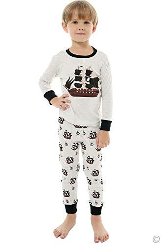 AMGLISE Little Boys Girls Pajamas Pirate Ship Pjs Long Sleeve Kids Sleepwear 5 for $<!--$16.91-->