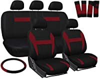 Motorup America Auto Seat Cover Full Set - Fits Select Vehicles Car Truck Van SUV - Red. & Black