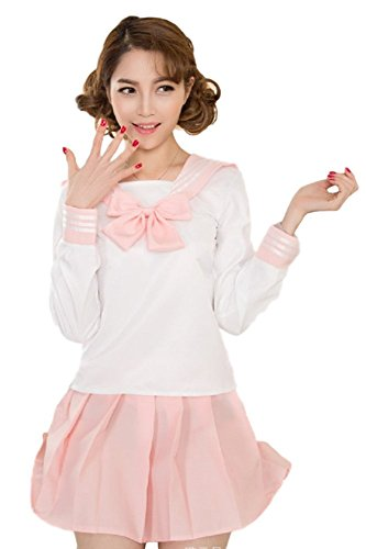 GK-O 5 Colors Japanese School Girl Long Sleeve Sailor Uniform Cosplay Costumes Dress Suit (X-Large, - Uniform Pink Ribbon