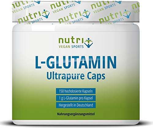 L-GLUTAMIN Kapseln vegan + hochdosiert – 200 Mega Caps – 750mg pure L-Glutamine pro Kapsel – höchste Dosierung – Fitness…
