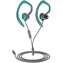 Sports Earhook Headphones Sweatproof In Ear Headphone Workout Earphone 3.5mm Jack Wired Stereo Headset with Microphone for Gym Running Jogging Hiking Cycling (Blue)