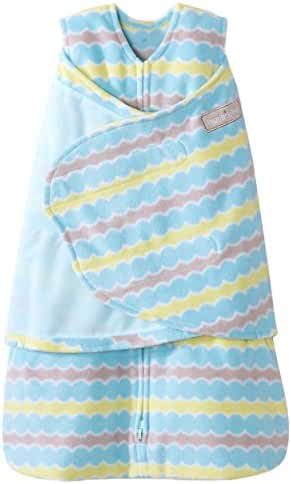 HALO SleepSack Micro-Fleece Swaddle, Blue Waves, Newborn