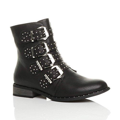 Black Buckle Biker Boots - 7