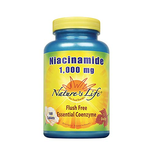 Nature's Life Niacinamide, 1000 mg | Non Flushing Vitamin B3 Niacin Supplement | 100 Vegetarian Tablets
