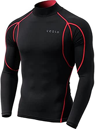 Tesla Men's Long Sleeve Mock Neck T-Shirt Baselayer Cool Dry Compression Top MUT12-KKR