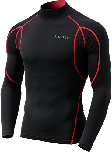 TM-MUT12-KKR_Large Tesla Men's Mock Long-Sleeved T-Shirt Cool Dry Compression Baselayer MUT12