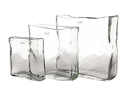 Dutz Rectangular Clear Glass Vase Height 20 Cm Width 20 X 5 Cm