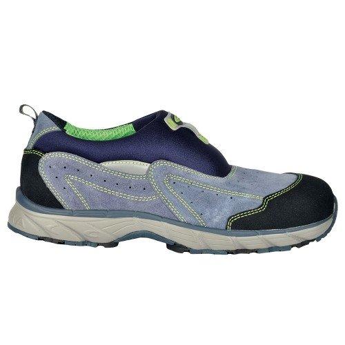 """Cofra zapatos de seguridad S1P """"New Sky workflying de serie luftiger Seguridad en Slipper Diseño Deportivo con tapa de acero con suela de goma piel de velour gris pedalada Protección/azul/negro"""