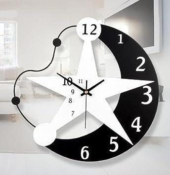 Personalidad Mode Ban estrellas luna dibujos animados creativos Reloj de pared/resina/Habitación de los Niños Silencioso Relojes electrónicos y regalos: ...