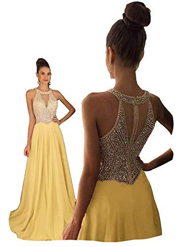 (Fanciest Women's Crystal Beaded Prom Dresses 2019 Long Evening Gowns Formal Light Yellow US6 )
