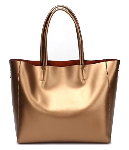Covelin Women's Handbag Genuine Soft Leather Tote Shoulder Bag Hot Bronze (Leather Bag Bronze)