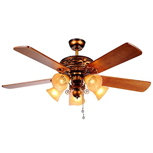 Andersonlight 52-Inch Ceiling Fan with Five Brazilian Cherry/Harvest Mahogany Blades and Swirled Marble Glass Light Kit (Red Bronze)