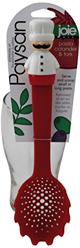 Joie Paysan Pasta Colander Non-Scratch Spoon and Server Fork, 11.25-Inch (Spaghetti Spoon Red compare prices)