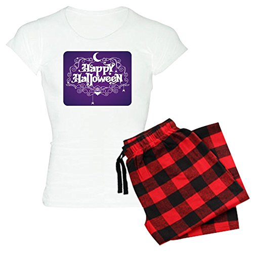 (Royal Lion Women's Light Pajamas Happy Halloween Bats and Spiders - Red Plaid, Large)