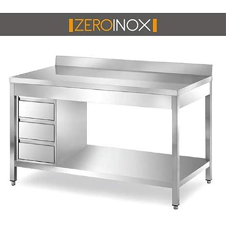 Tavolo In Acciaio Inox.Zeroinox Tavolo Acciaio Inox Con Sottopiano Cassettiera