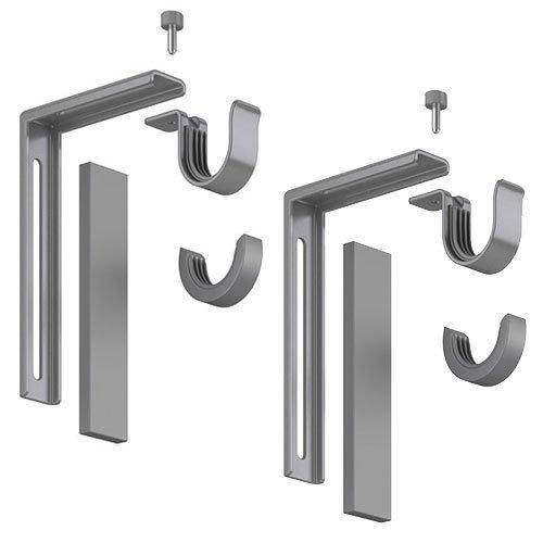 Set of 2 Ikea Betydlig Wall or Ceiling Curtain Rod Brackets Steel Silver Adjustable