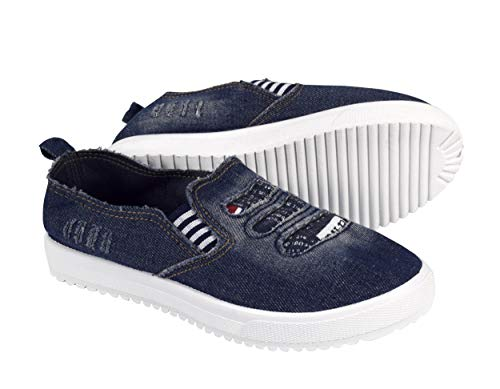 - Peach Couture Womens Fashion Distressed Denim Casual Shoes Slip on Sneakers Blue, 10