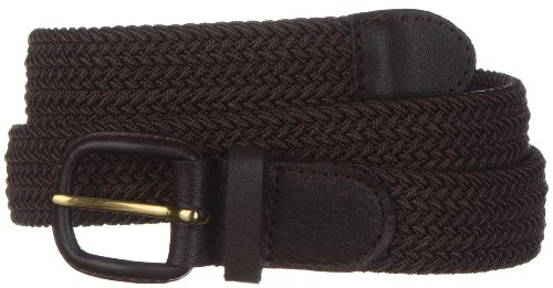Strait City Trading Co men's stretch belt with leather covered buckle 2XL brown