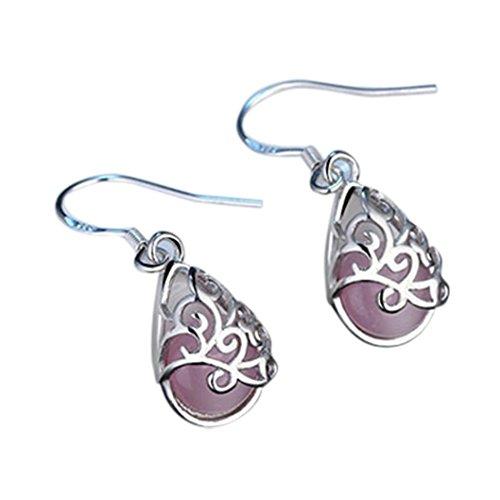 Beuu Women'S Long Earrings Wedding Jewelry Cat'S Eye Style Fashion Love Wishing Pool Earrings Cross Drop Dangle Earrings (Pink) Cats Eye Dangling Earring