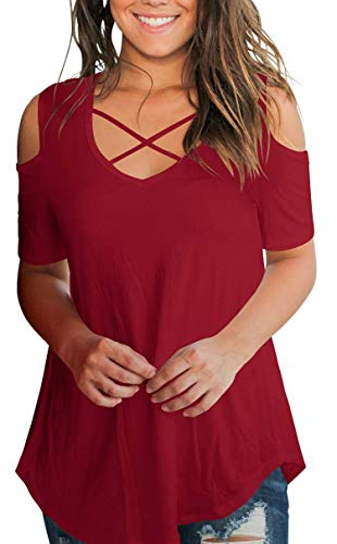 Women's Criss Cross Cold Shoulder Tshirts Short Sleeve Summer Top Loose Fit Burgundy M