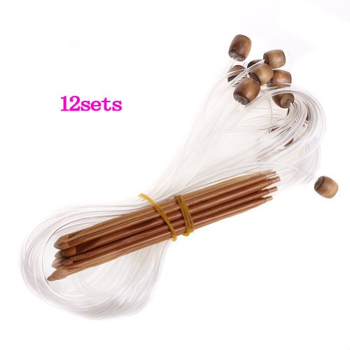 OOOUSE 12 Sizes Afghan Tunisian Carbonized Bamboo Crochet Hooks 3.0-10.0mm--With Adjoined Plastic Cable for Maximum Project Flexibility