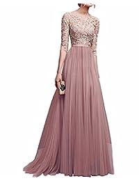 BIUBIU Women's Vintage Floral Lace Evening Prom Ball Gown Long Party Dress