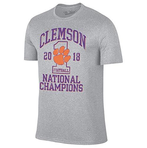 Elite Fan Shop Clemson Tigers National Champs Tshirt 2018-2019 Gray - XL