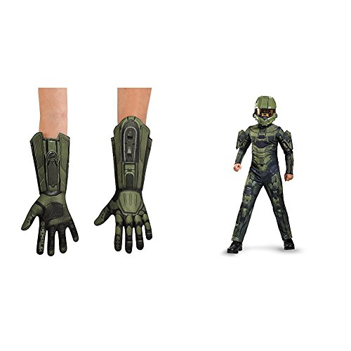 Master Chief Deluxe Child Gloves with Master Chief Classic Costume, Small (4-6) Bundle]()