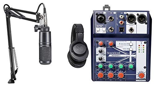 (Audio Technica 1-Person Podcast Podcasting Package Microphone+Headphones+Boom)