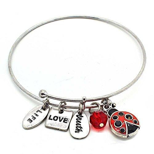 KIS-Jewelry Symbology 'Lady Bug' Bangle Bracelet, Silver Plated - Expandable Wire Charm Bracelet Accented With Crystal Stones And One Shiny Glass Bead - Perfect Jewelry For Fashion