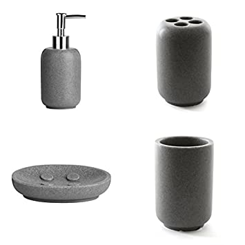 canyon grey stone effect polyresin new range of bathroom accessories complete set