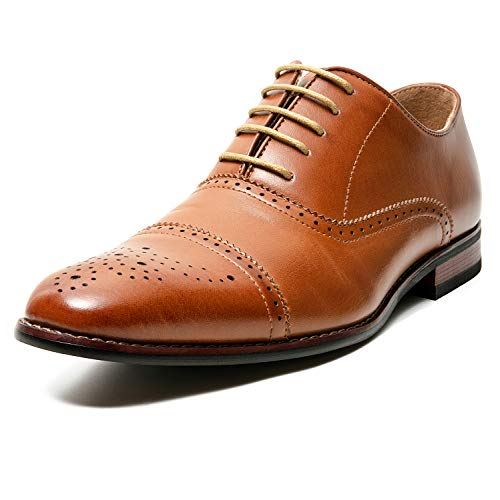 Mens Cap Toe Brogue Oxford Leather Lined Lace-up Dress Shoes (13 M US, B-Tan12)