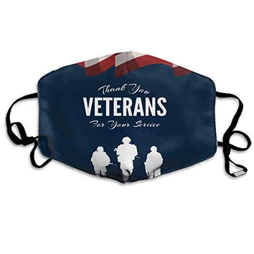 Veterans Day American USA Flag Navy Dustproof Earloop Face Masks for Women Men, Anti Flu Pollen Climbing Climbing Half Face Mouth Mask - Anti Allergy Face and Nose Cover]()