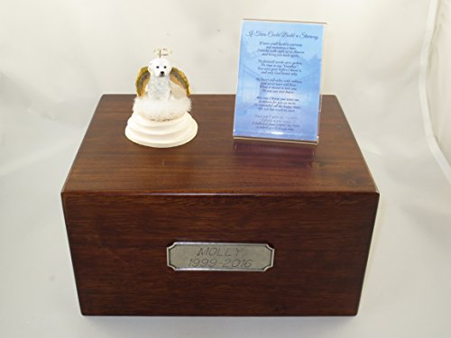 Beautiful Paulownia Large Wooden Urn with Great Pyrenees Stairway to Heaven Figurine with Poem & Personalized Pewter ()