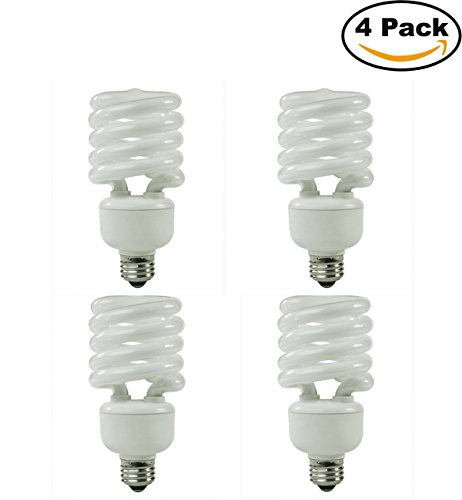 42 Watt (150 Watt Equivalent) T2 Compact Fluorescent Spiral CFL Replacement Light Bulb - 2700K Warm White - E26 Standard Medium Base (4-Pack)