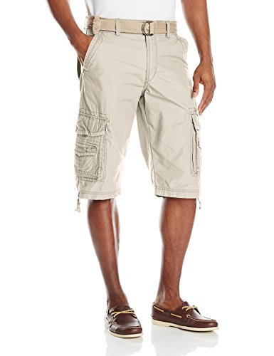 Unionbay Men's Cordova Belted Cargo Short Messenger -  36 - Sand (Belted Shorts Unionbay)