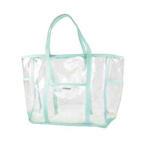 (Capri Designs Clear PVC Beach Tote - Turquoise & Clear)
