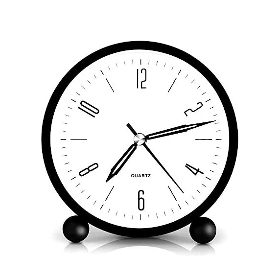 HeQiao Silent 4 Inch Metal Table Alarm Clock with Night Light (Bright Black) - Silent sweep clock. No bothersome ticking noise Easy to see time at night by soft back light Tick-free large face clock with not jarring alarm - clocks, bedroom-decor, bedroom - 41Pva4uoUyL. SS570  -