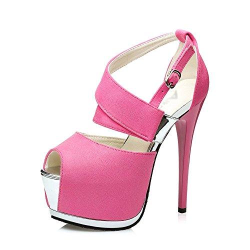 (GATUXUS Women Sexy Open Toe Platform High Heels Pumps Strap Sandals Party Prom Shoes (8 B(M) US, Pink))