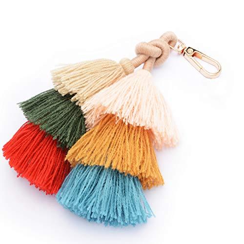 Colorful Boho Pom Pom Tassel Bag Charm Key Chain Winter women's bag pendant Dark pendant (B style)