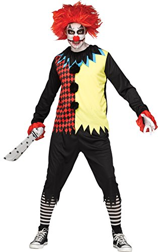 UHC Men's Freakshow Demented Evil Psycho Clown Adult Halloween Costume, OS