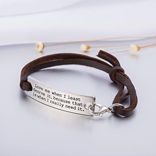 Pulsera de cuero con Love palabras, Fashion joyas para parejas, para hombres y mujeres