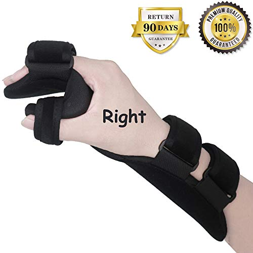 (Soft Resting Hand Splint Night Wrist Splint Support Immobilizer Finger Wrist Fracture Fixation Scaffold for Pain Tendinitis Sprain Fracture Arthritis Dislocation (Right))