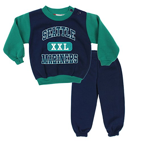 Seattle Mariners MLB Baby Boys Infant Top & Pants Fleece Jog Set, Navy-Green (24 ()