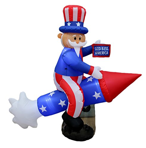 BZB Goods 6 Foot Long Patriotic Independence Day 4th of July Inflatable Uncle Sam on Rocket LED Blow Up Lighted Decor Indoor Outdoor Holiday Art Decor Decorations -