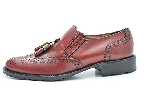 VITELO Ladies Brogue / Loafers With Tassel in Burgundy, Black and Brown Calf Leather F68 Burgundy