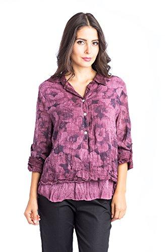 Abbino d16cm98G1 Blusas Tops para Mujer - Hecho en ITALIA - 7 Colores - Entretiempo Primavera Verano Otoño Mujeres Femeninas Elegantes Camisas Manga Larga Casual Vintage Oficina Fiesta Rebajas Rojo Vino