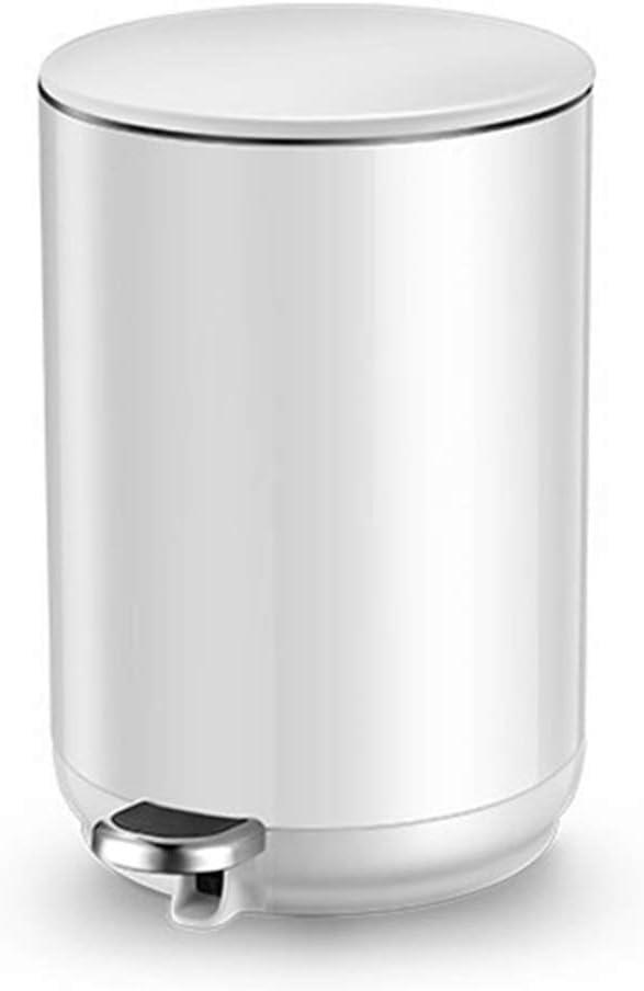 サイズのキッチン、オフィス、自宅のようにAバラエティ使用できるサイレントごみ箱ステンレス鋼ホワイトペダルビン (Color : White, Size : M)
