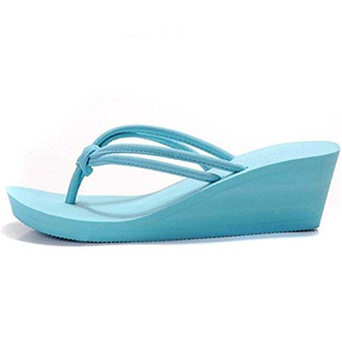 PU Slip Sky Flops on Leroyca Plain Blue Slippers Women Sandals Casual Flat Flip Shoes Beach Rubber Wedge fT4wUg